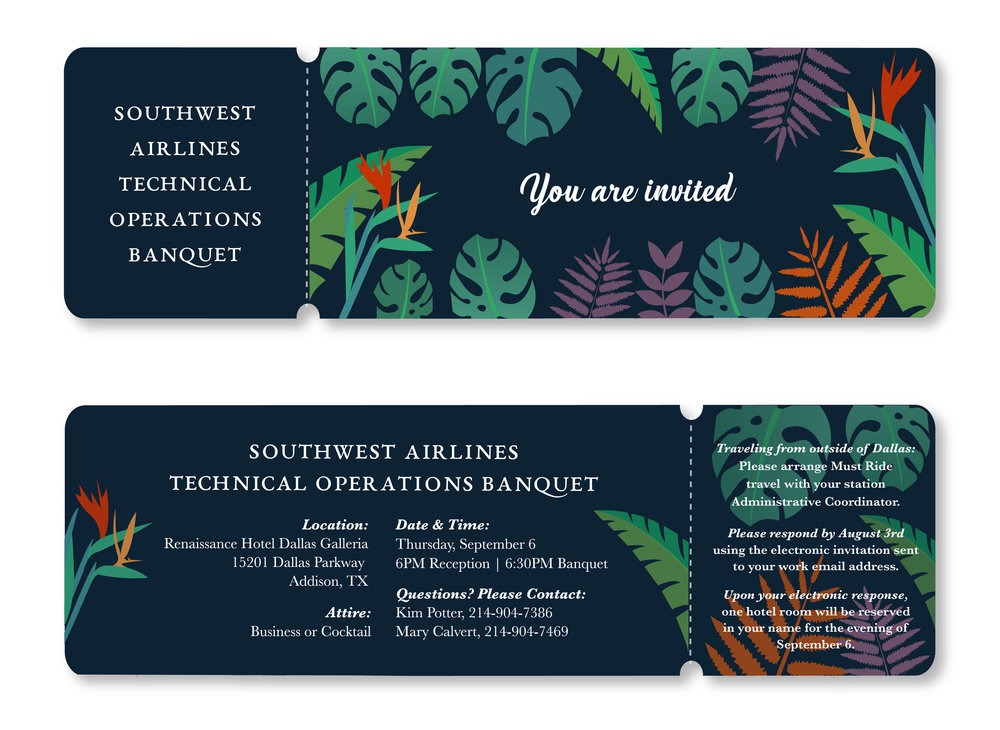 "The perforated area is to act as a ""save the date"" and the colorful illustrations of the plants and flowers I designed helped frame and support the elegant EB Garamond and script fonts."