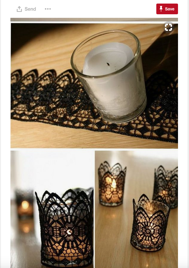 I just love this Halloween candle idea!! Honestly, you could use this for many different wedding themes. I love the use of lace and the creativity.