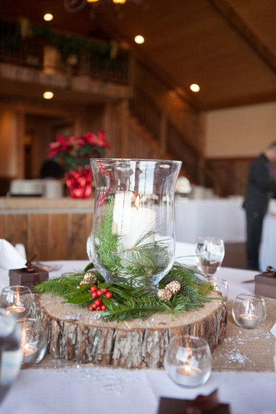 It doesn't get much more traditional for Christmas than this winter wedding centerpiece.