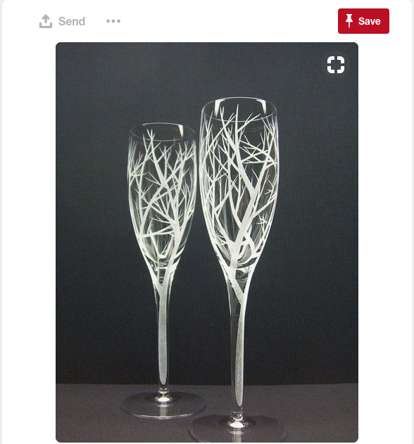 Elegant and beautiful, these wedding glasses are perfectly inspired by trees.