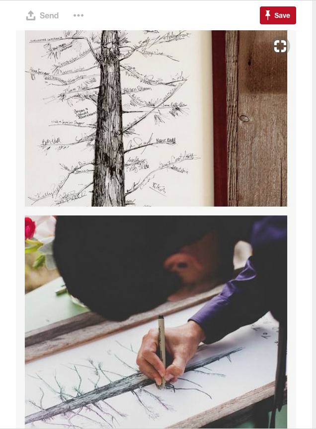 Wedding guest books have come a long way over the years. Your wedding guests are no longer signing actual books, they're now using fingerprints as tree leaves for signatures and doing this -- writing messeges and names on tree limbs.