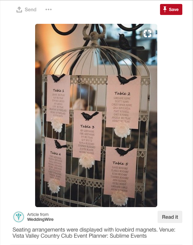 What a great idea from WeddingWire for guest seating.