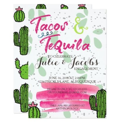 Check out this tacos and tequila engagement party invitation! I love this idea for your Gilbert wedding!