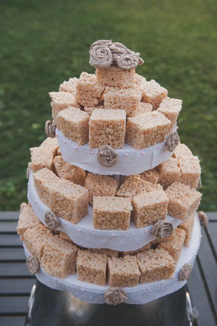 Maybe rice crispie treats are more your thing. Imagine a towering display of colorful rice crispie treats for your untraditional wedding cake.