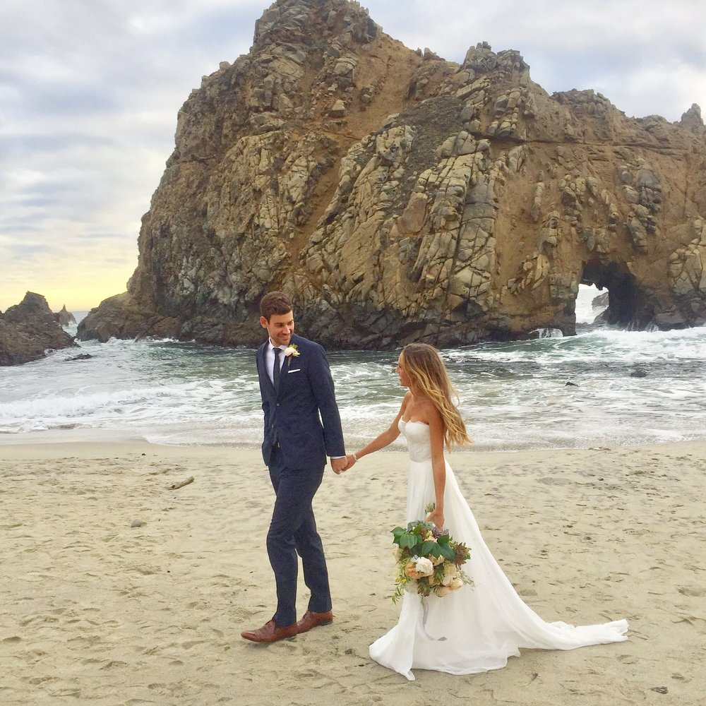This is   Evan and me at Pfeiffer Beach right after our ceremony in Big Sur. Couldn't have loved my dress any more, all thanks to you guys!    #sarahsevensf