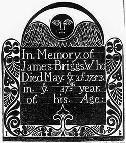 """This print depicts an """"angel of death,"""" a motif often seen on gravestones, and a fascination of Styron's."""