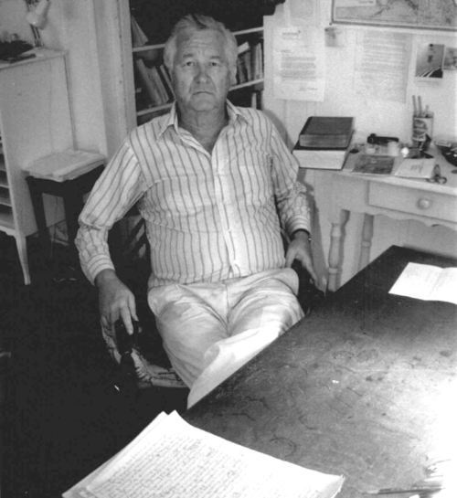 William Styron in his writing room on Martha's Vineyard in 1989. Photo by William Waterway Marks / Creative Commons
