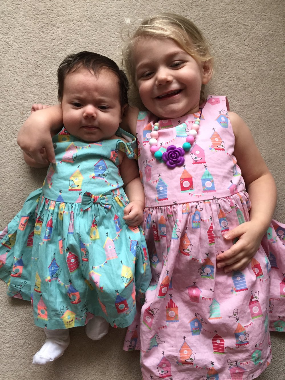 Sisters in macthing Bluezoo Dresses from Debenhams © mebecomingmum