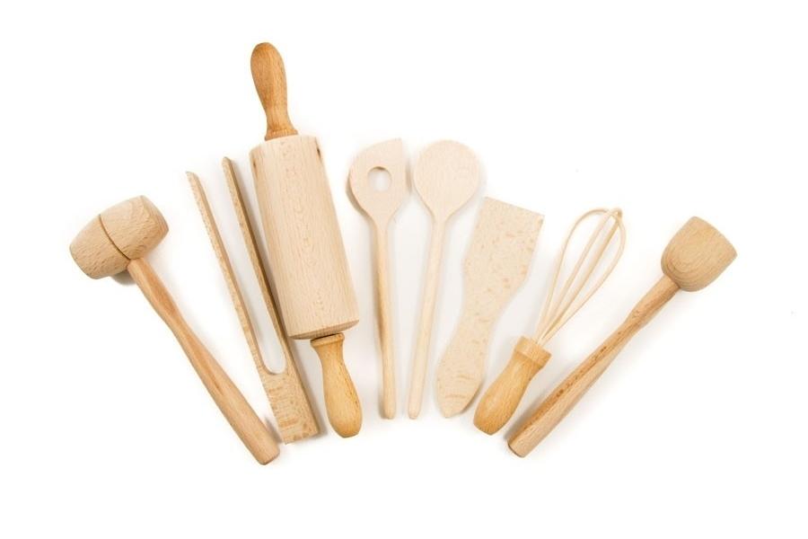 souschef childrens wooden kitchen utensils set