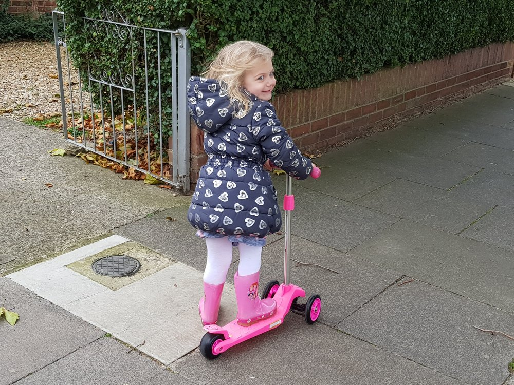 ride the scooter to preschool