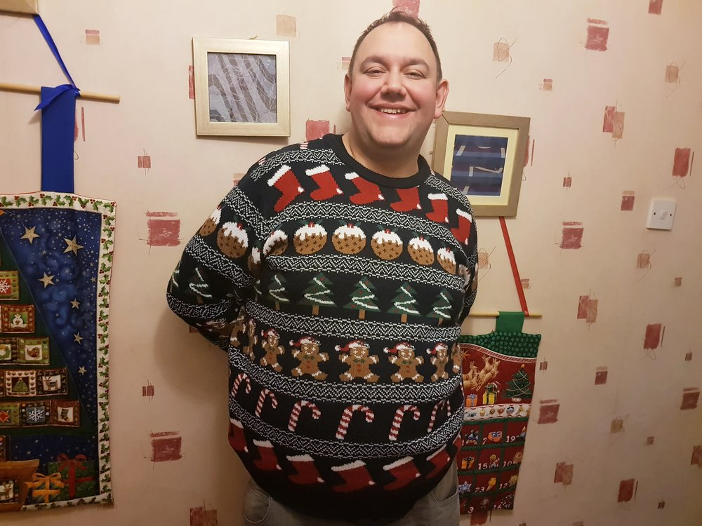 John in a Sainsbury's TU Christmas jumper