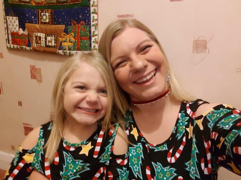 Matching Christmas tree dresses mummy and me