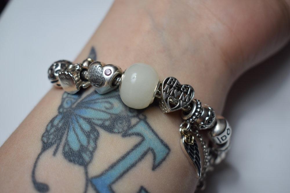 Pandora bracelet and charms
