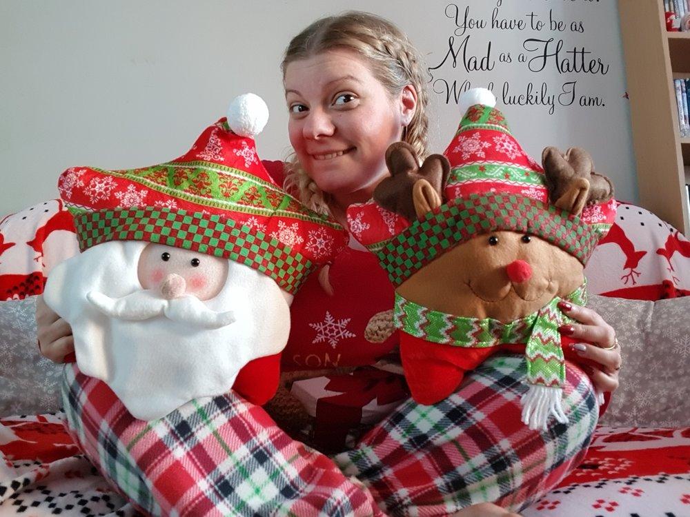 Christmas Santa and reindeer cushions