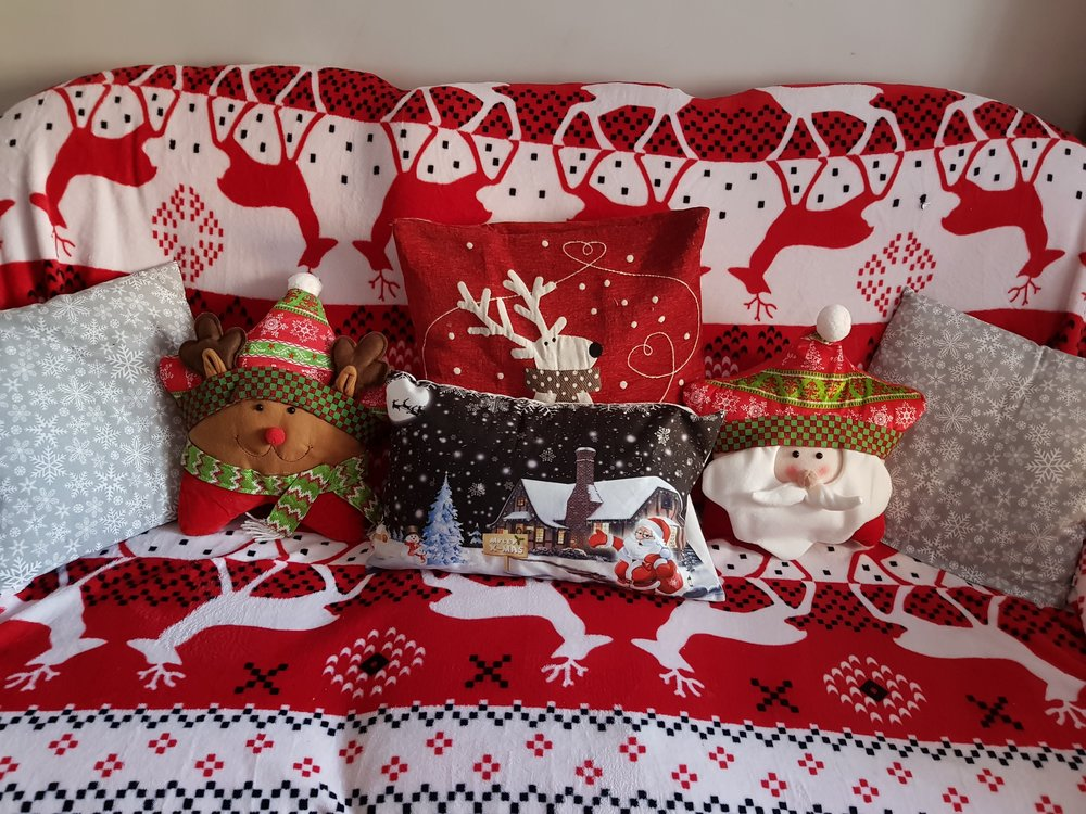 Christmas cushions and sofa throws