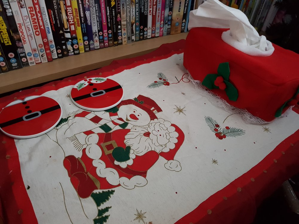Santa table cloth tissue box cover and coasters