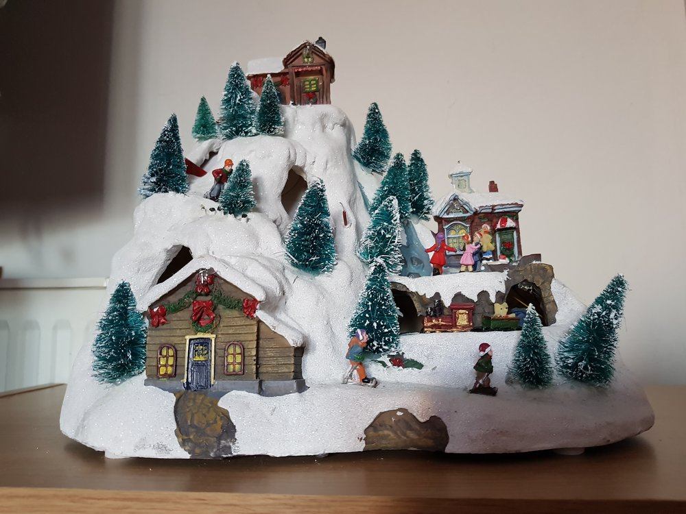 Light up ski scene Christmas decoration