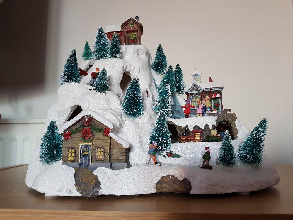 Light up ski scene Christmas decoration