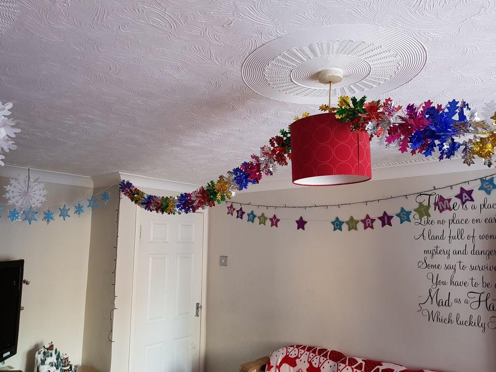 Rainbow foil ceiling garlands