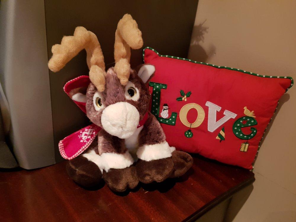 Reindeer and Christmas love pillow