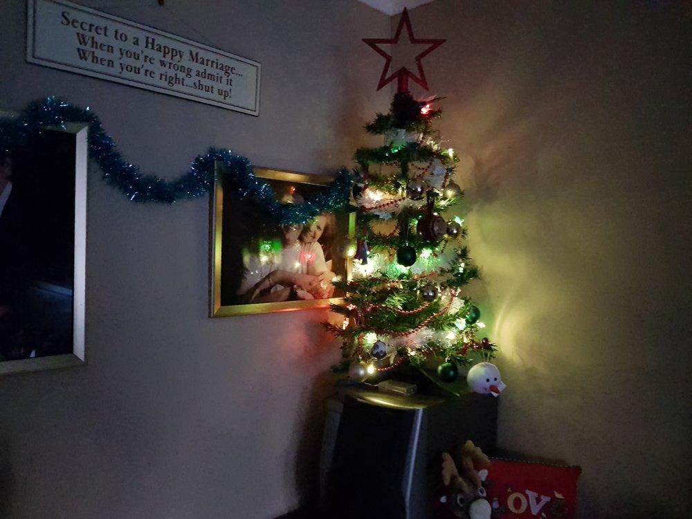 Miniature Christmas tree all lit up