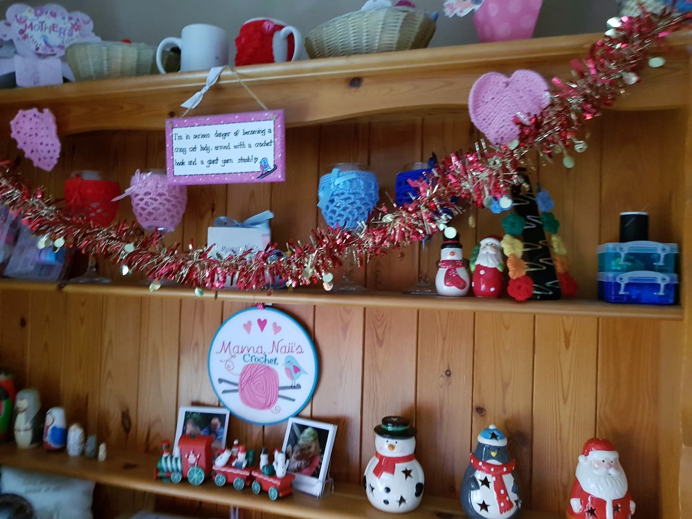 Christmas decorations on the sideboard
