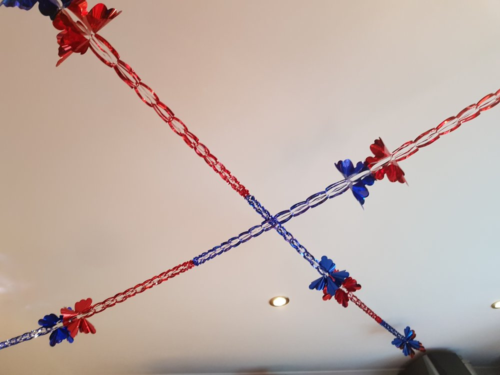Red and blue foil garland