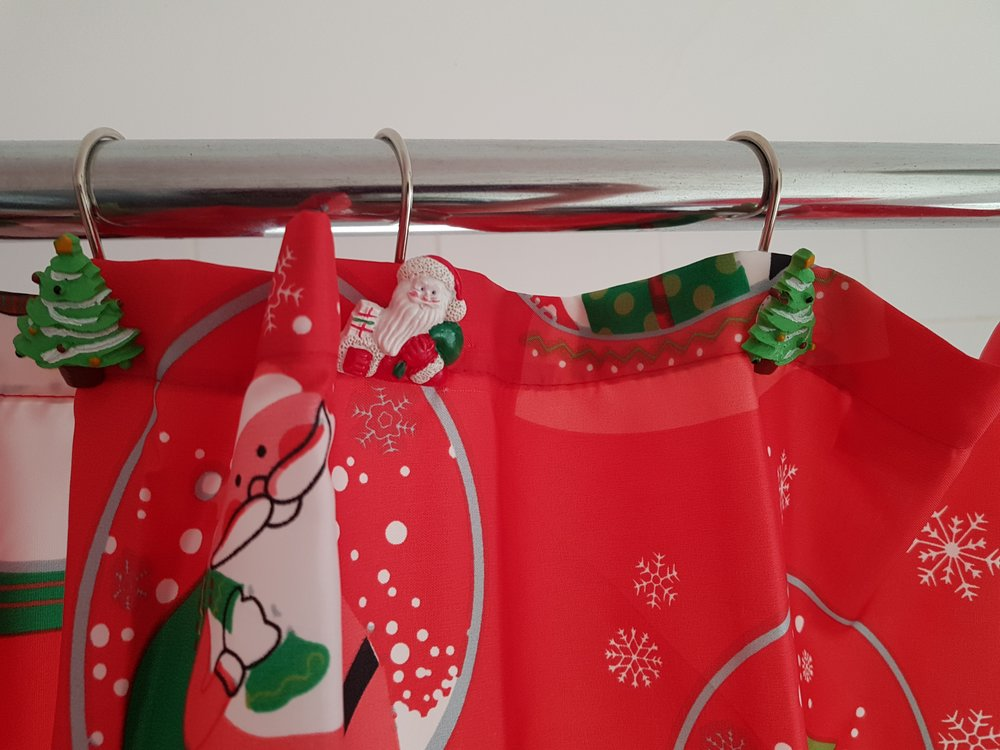 Christmas shower curtain and hooks