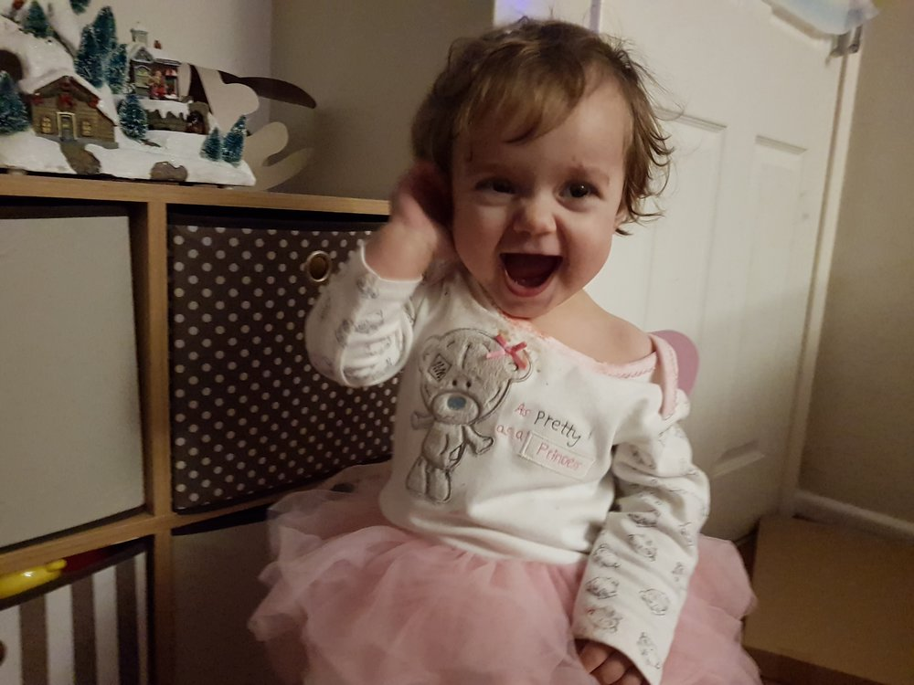 Little L in her new Me to You Tatty Teddy tutu sleepsuit