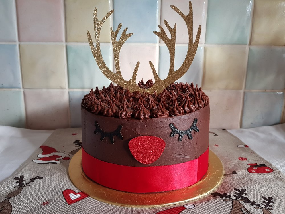 my Rudolph the red nosed reindeer cake