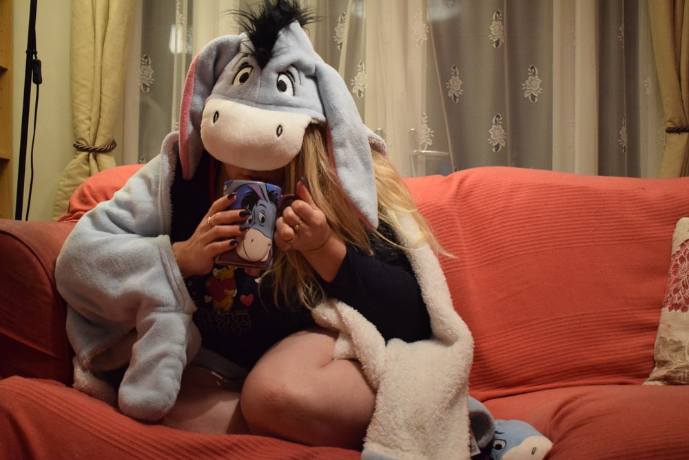 Channelling my inner Eeyore with my new blanket, mug and slippers