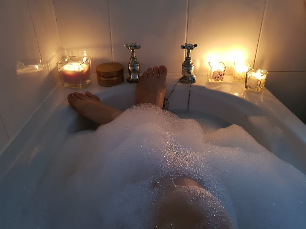 candle lit bubble bath