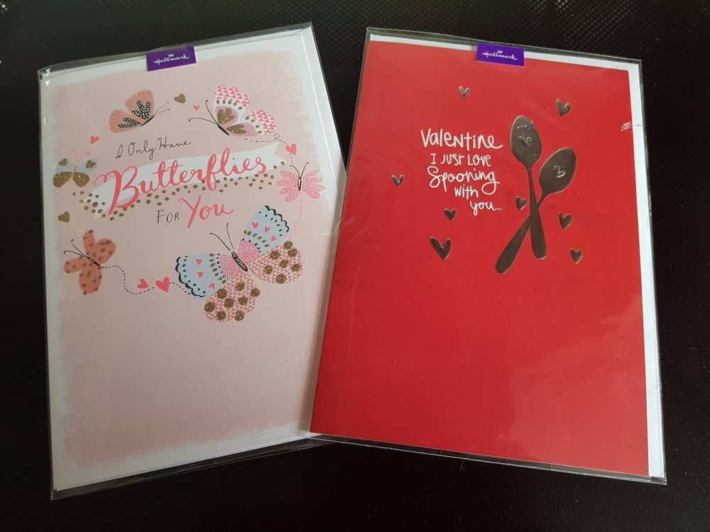 The outer design of a couple of Hallmark's Valentine's Day cards