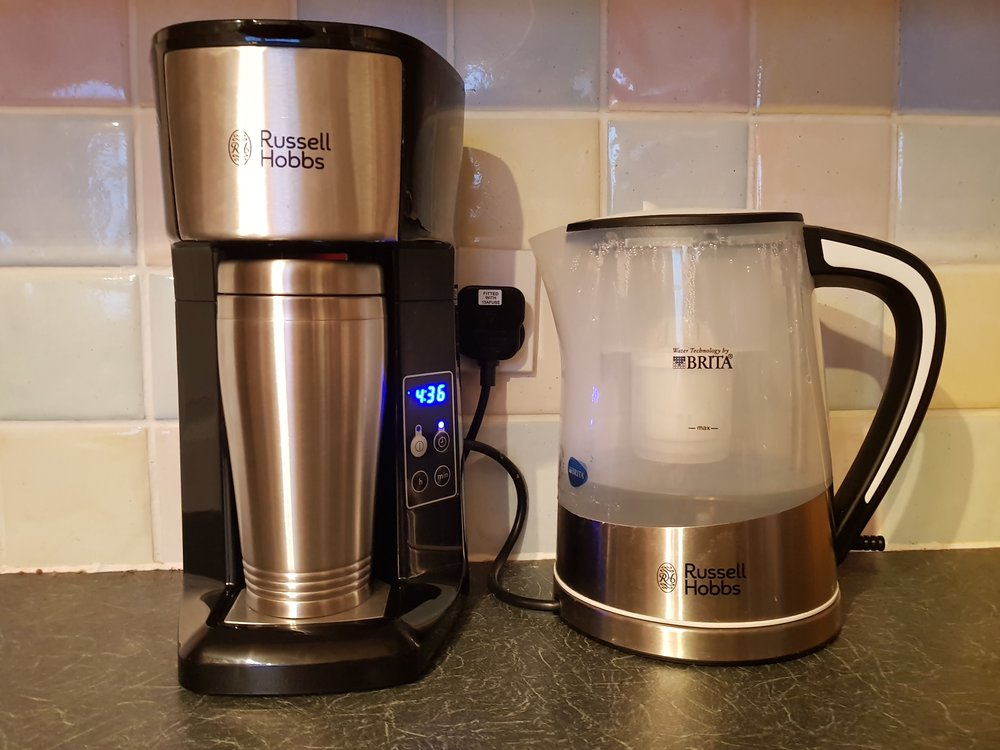 black and chrome Russell Hobbs kettle and Brew & Go in my kitchen
