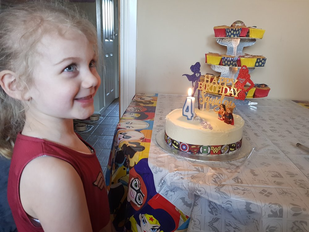 Wonder Woman Supergirl birthday cake moments
