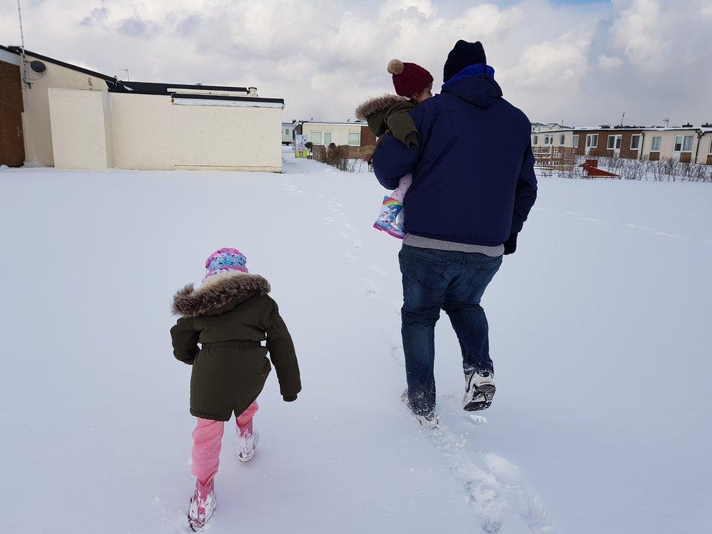 Walking across the snowy landscape