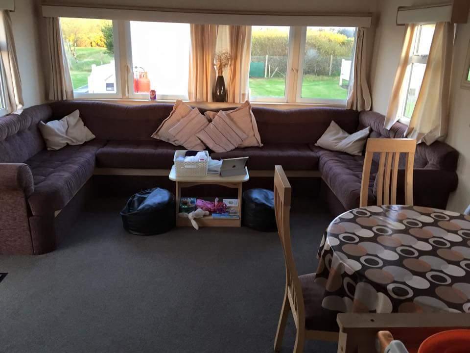 Inside the static caravan