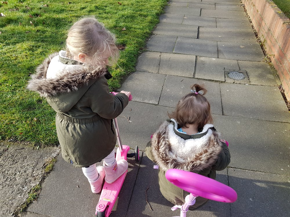 Getting outdoors for walks with scooters and trikes