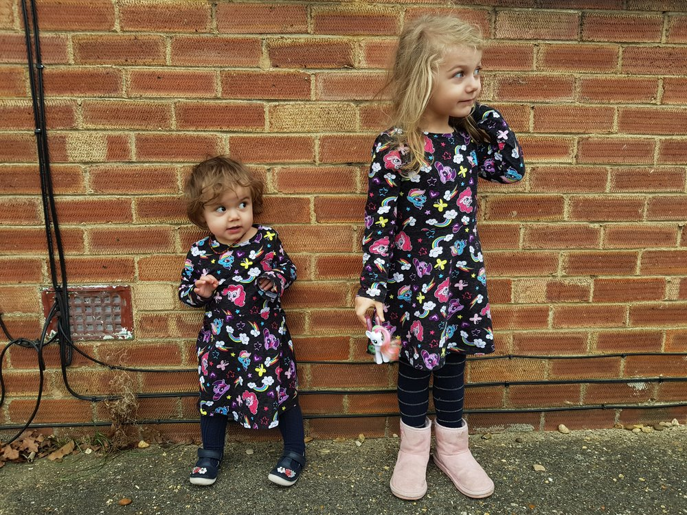 Twinning in My Little Pony dresses from Primark