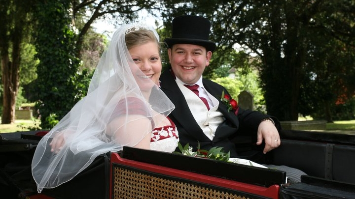 John and I in our horse and carriage ready for the trip to the next venue