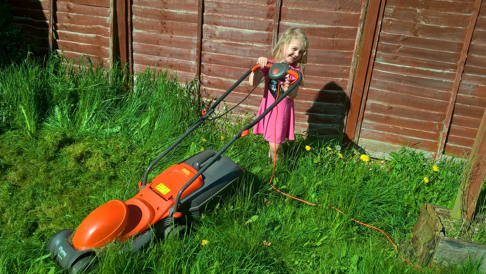 Gardening together Squidgy and our lawnmower