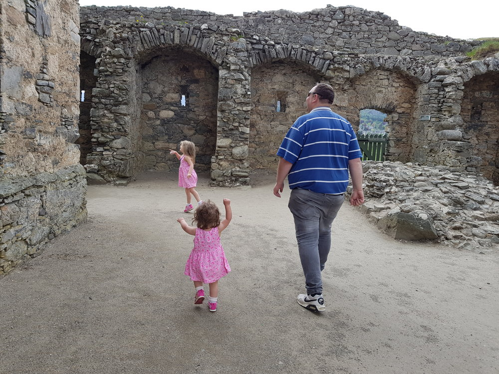 Exploring Scottish ruins with daddy