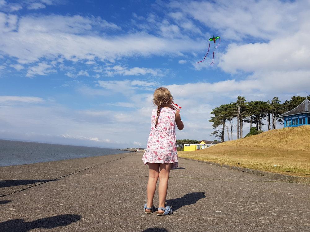 Kite flying at Silloth Beach, Cumbria
