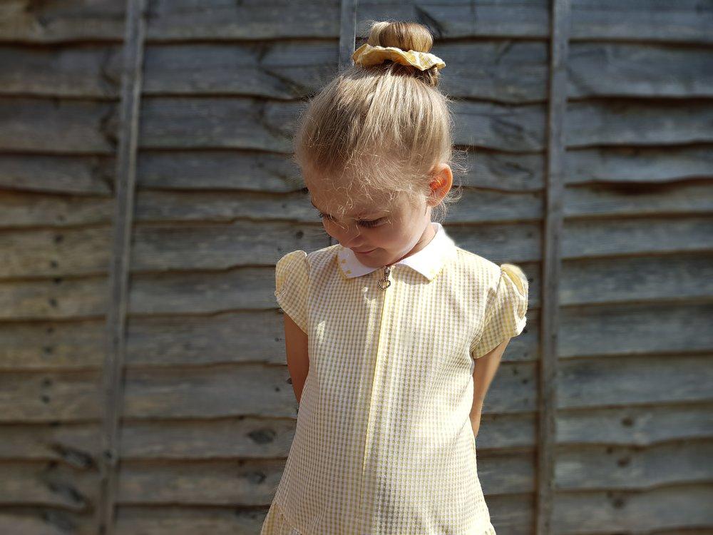 Matalan yellow knit collar gingham summer dress