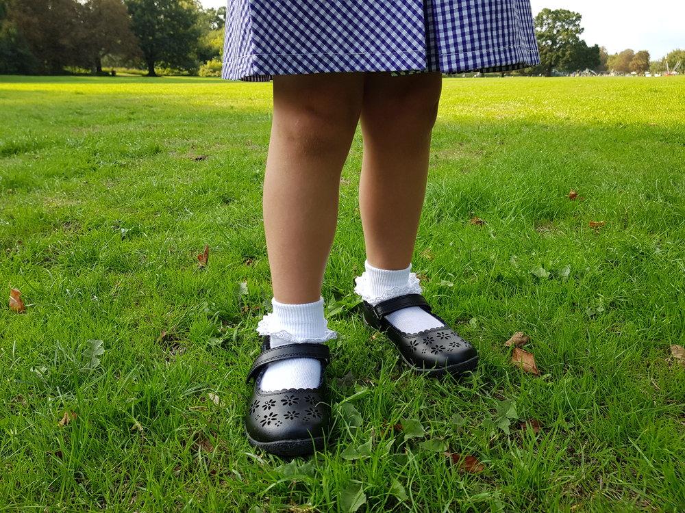 Matalan lace trim socks and black flower school shoes