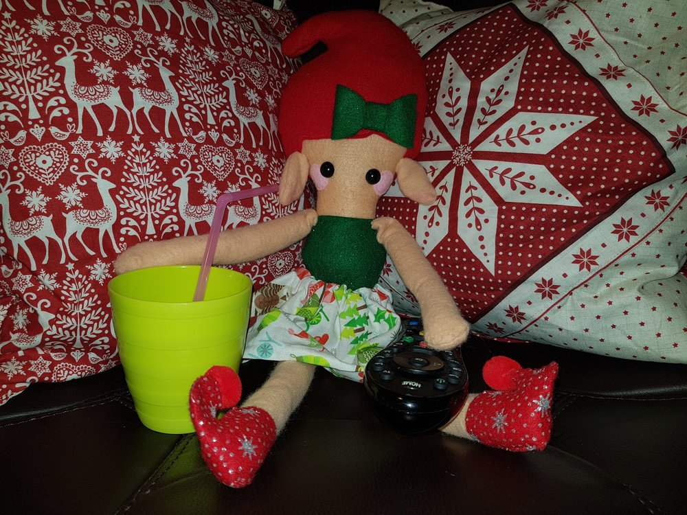 Elf on a Shelf December 5th Watching TV