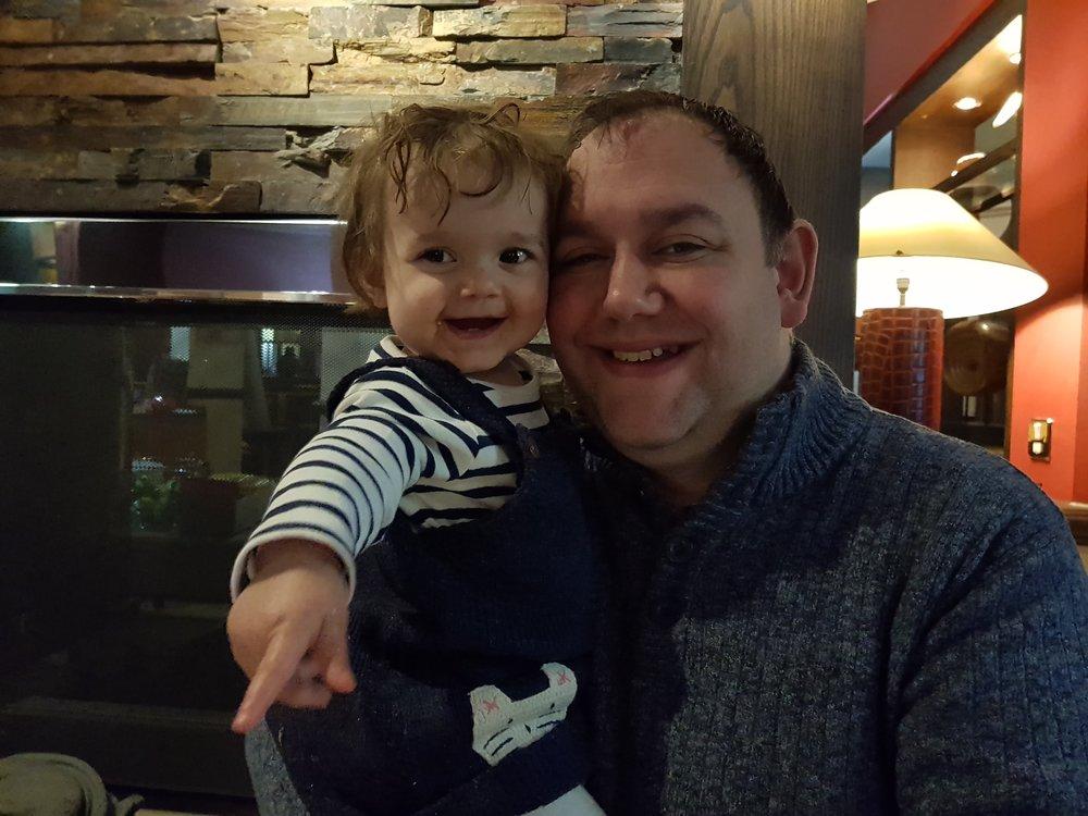 John's birthday hug with his baby girl