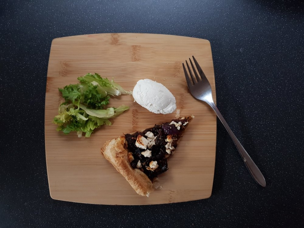 Caramelised red onion and feta tart with goats cheese