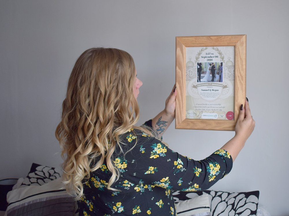 Own a Moment framed certificate