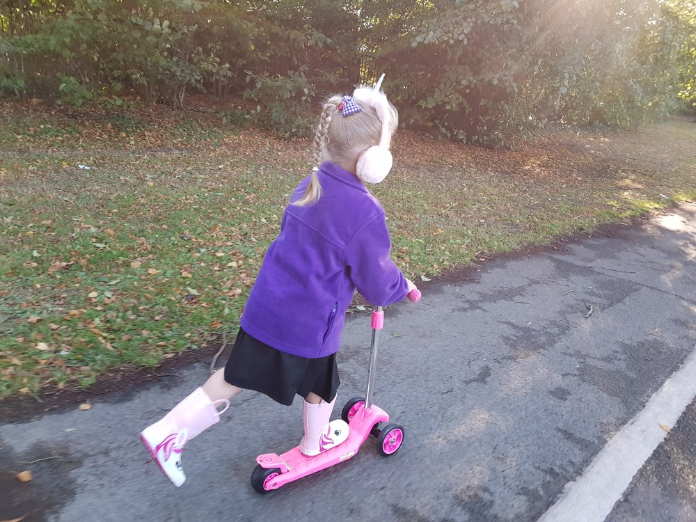 Squidgy scootering to school